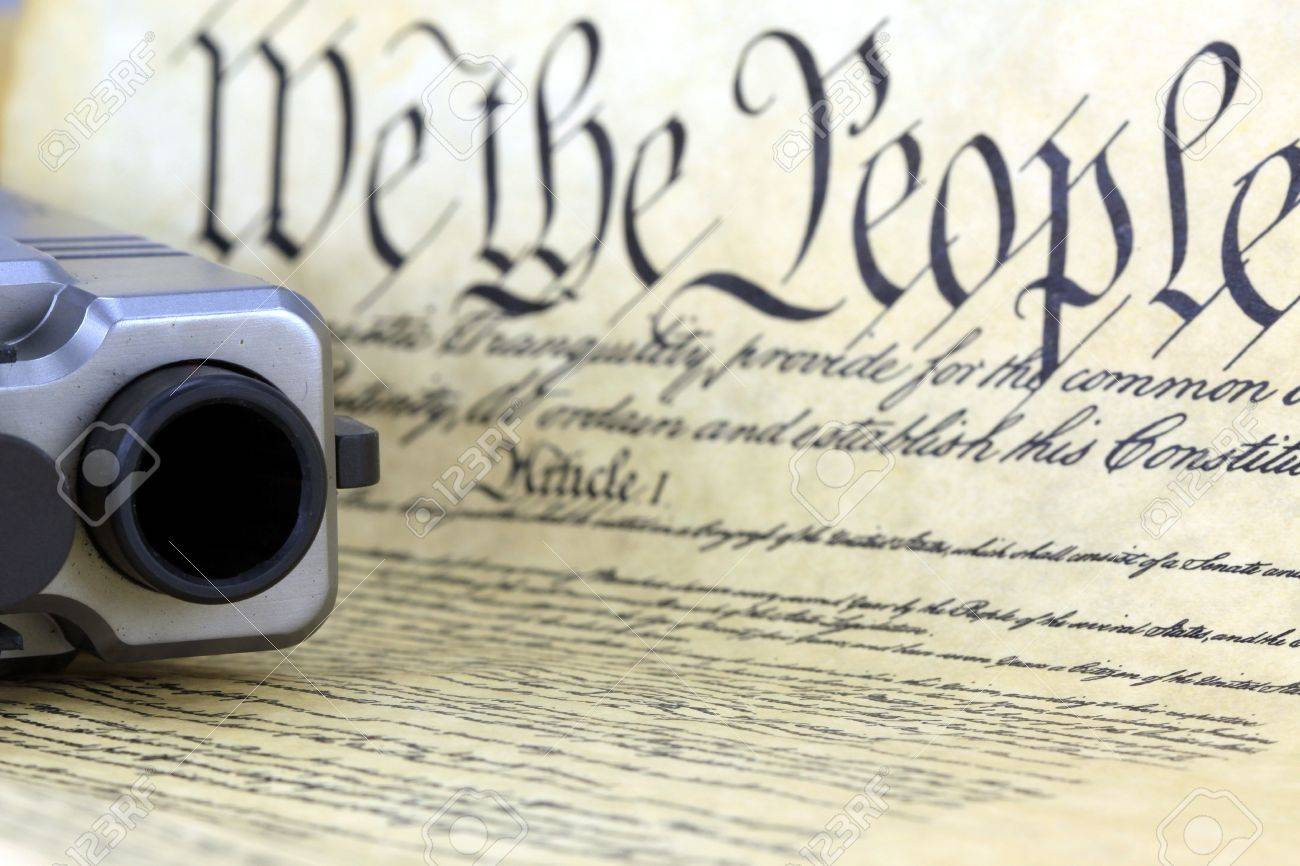 us constitution hand gun right to keep and bear arms stock stock photo us constitution hand gun right to keep and bear arms