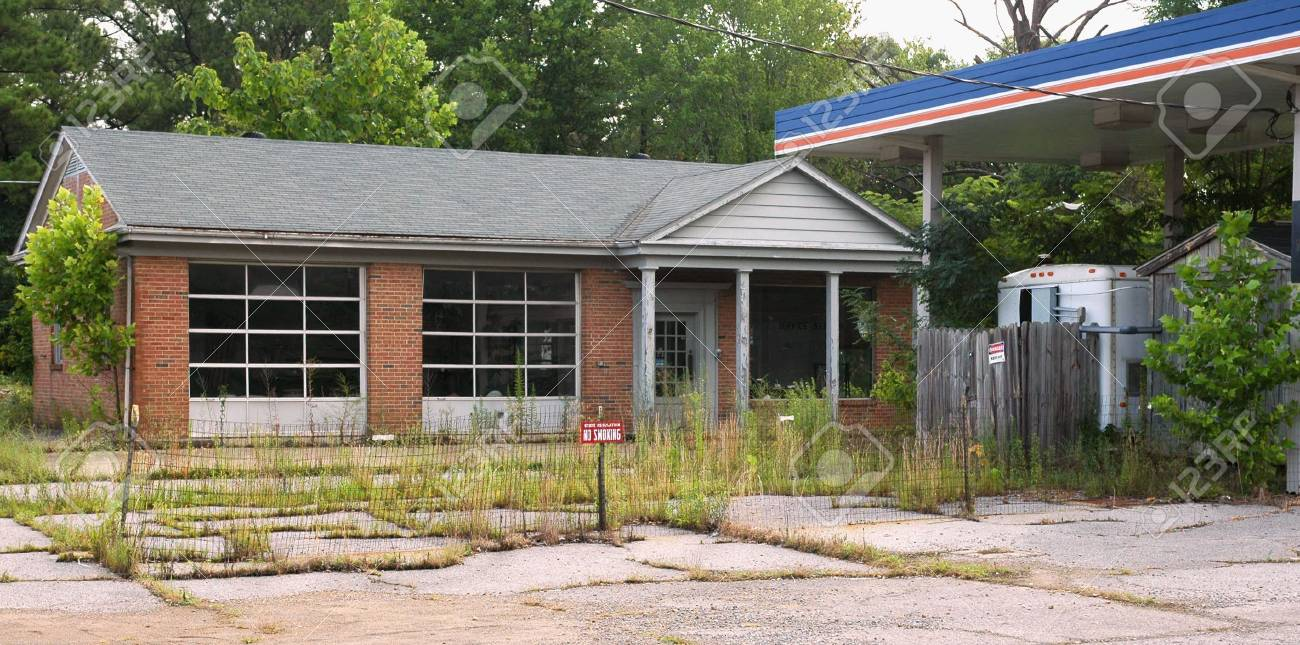 An Old Gas Station Abandoned And Overgrown Stock Photo Picture And Royalty Free Image Image 1357466