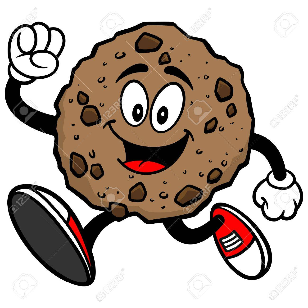 chocolate chip cookie running royalty free cliparts vectors and rh 123rf com chocolate chip cookie clip art free