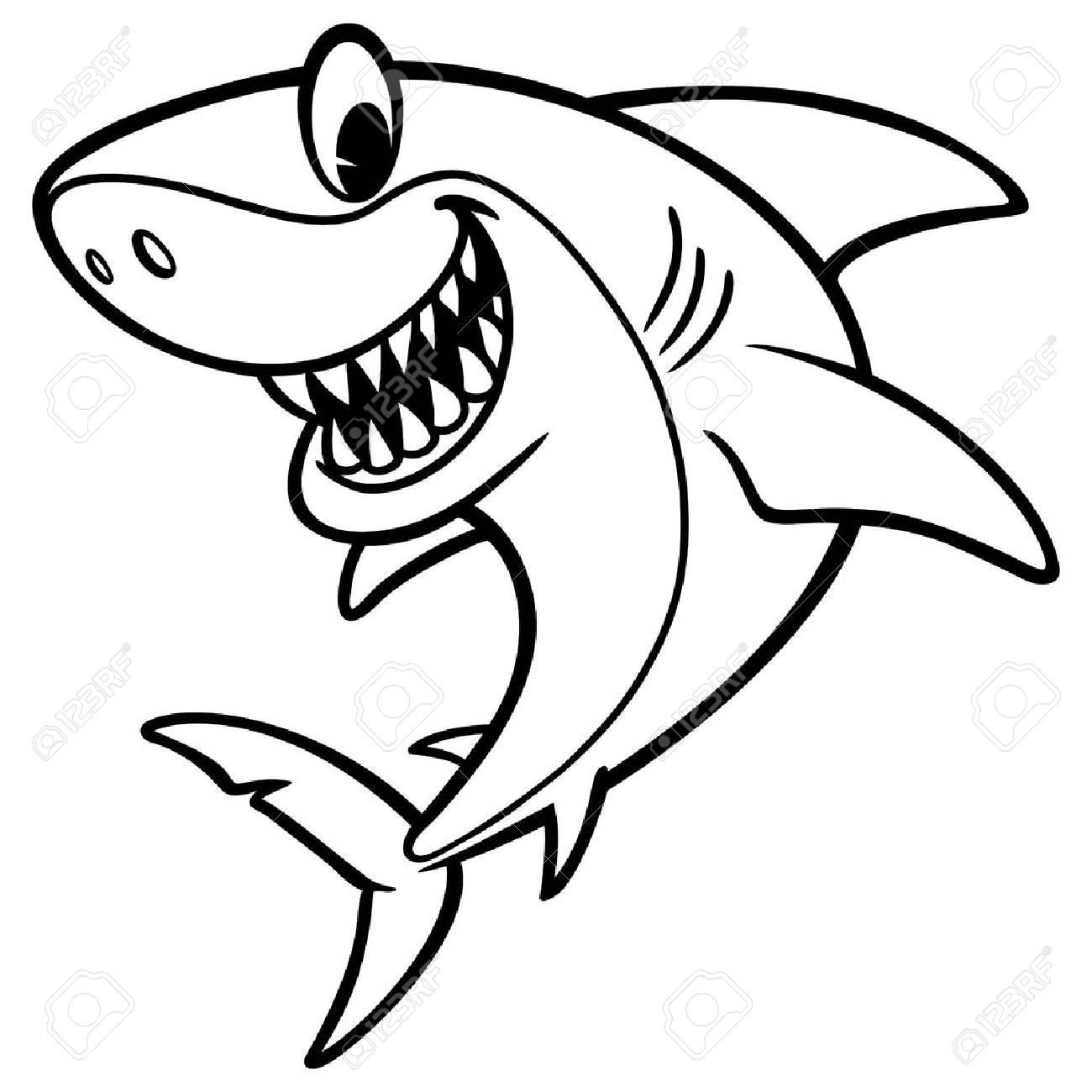 Dibujo De Dibujos Animados De Tiburón Ilustraciones Vectoriales ...