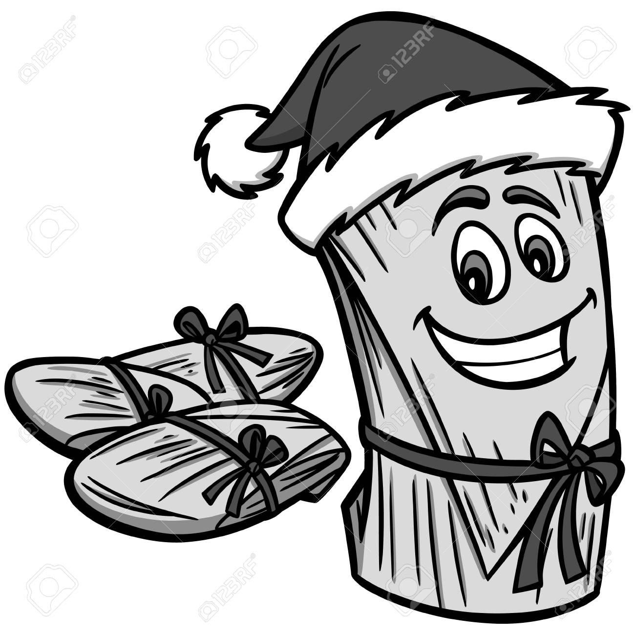 Christmas Hat Cartoon.Christmas Tamales Illustration A Vector Cartoon Illustration