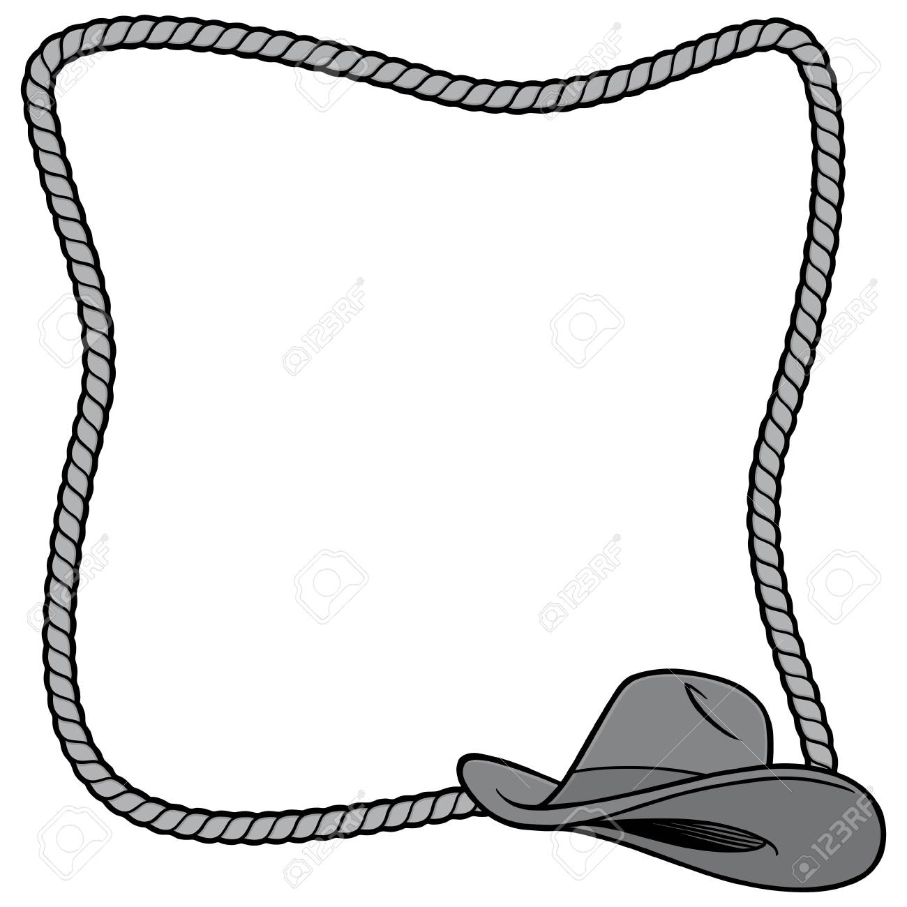 rope frame and cowboy hat illustration a vector cartoon rh 123rf com Funny Cowboy Clip Art Cowboy Lasso Clip Art