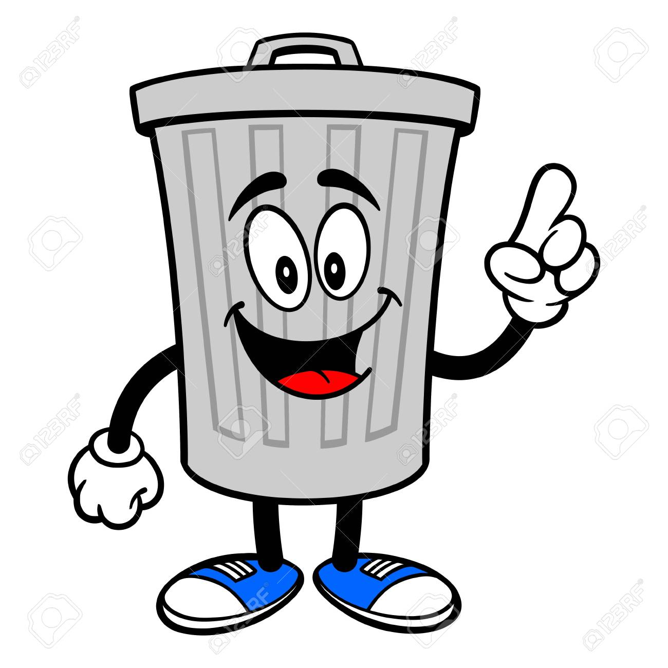 Trash Can Mascot Pointing A Vector Cartoon Illustration Of