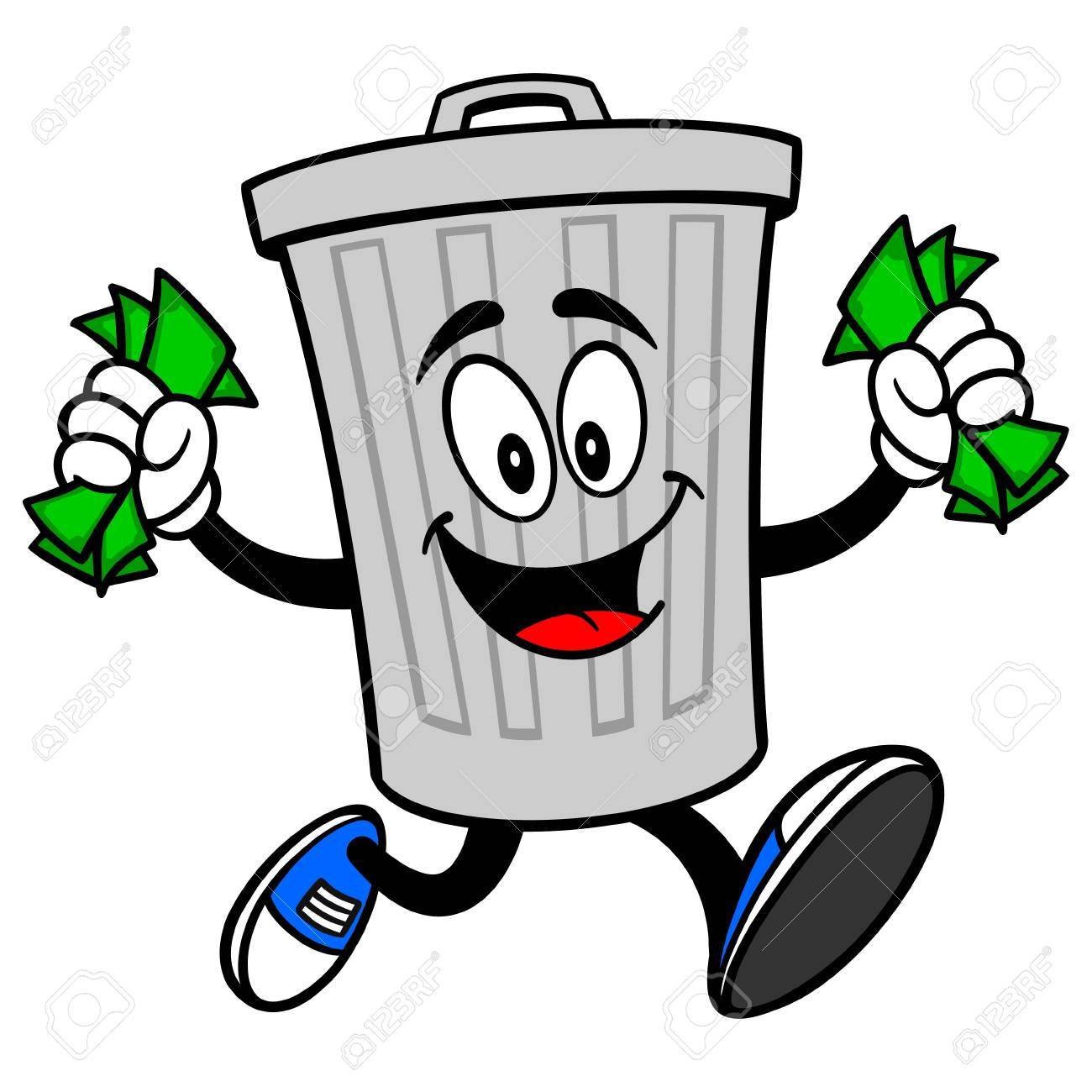 Trash Can Mascot running with Money - A vector cartoon illustration of a aluminum Trash Can mascot running with Money. - 120066912