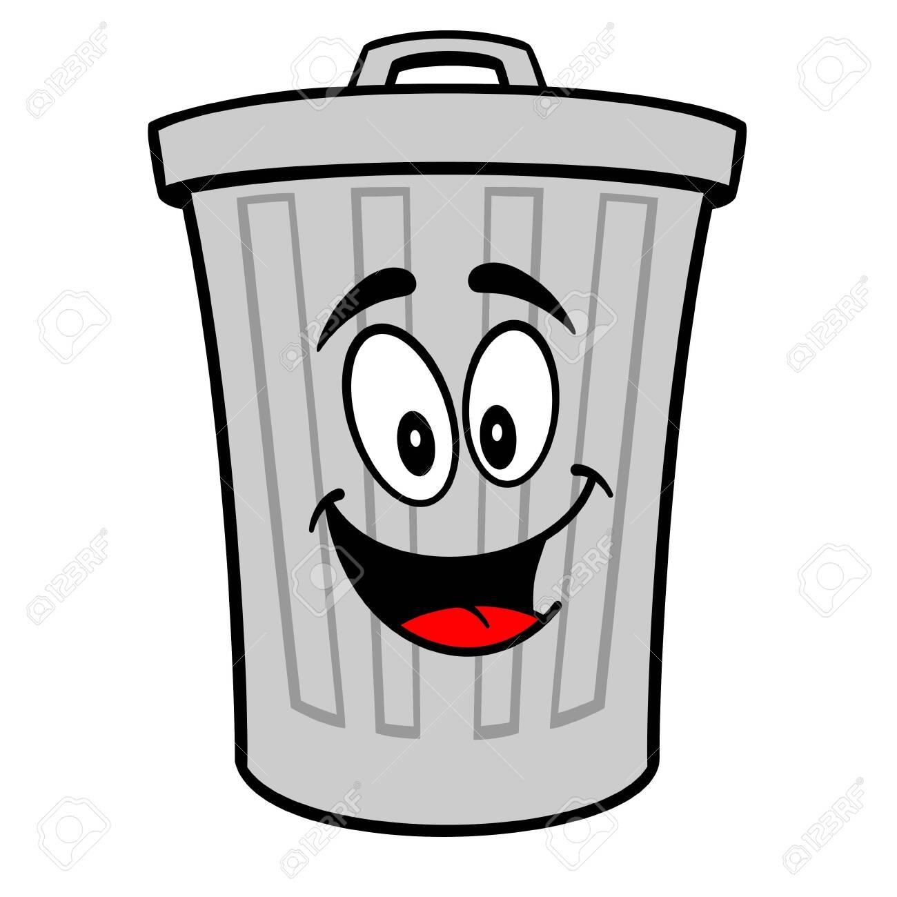 Trash Can Mascot - A vector cartoon illustration of a aluminum Trash Can mascot. - 120066926
