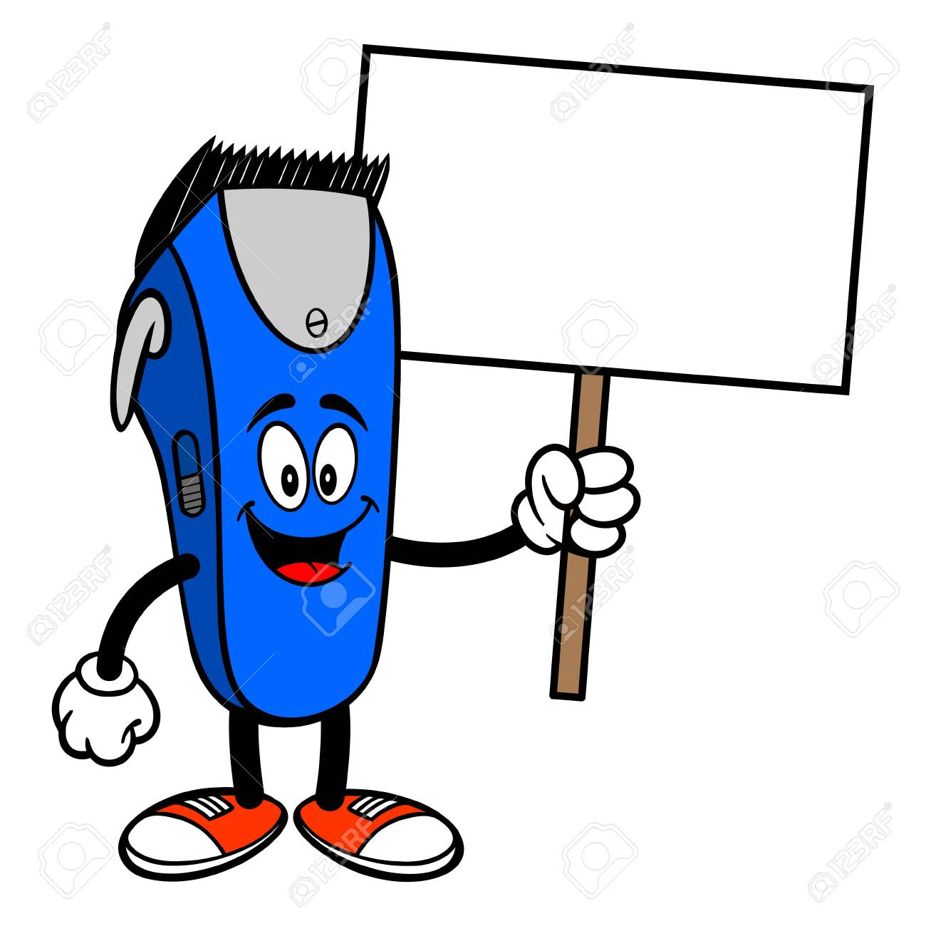 Electrical Hair Clipper Mascot With A Sign A Vector Cartoon Royalty Free Cliparts Vectors And Stock Illustration Image 120067397