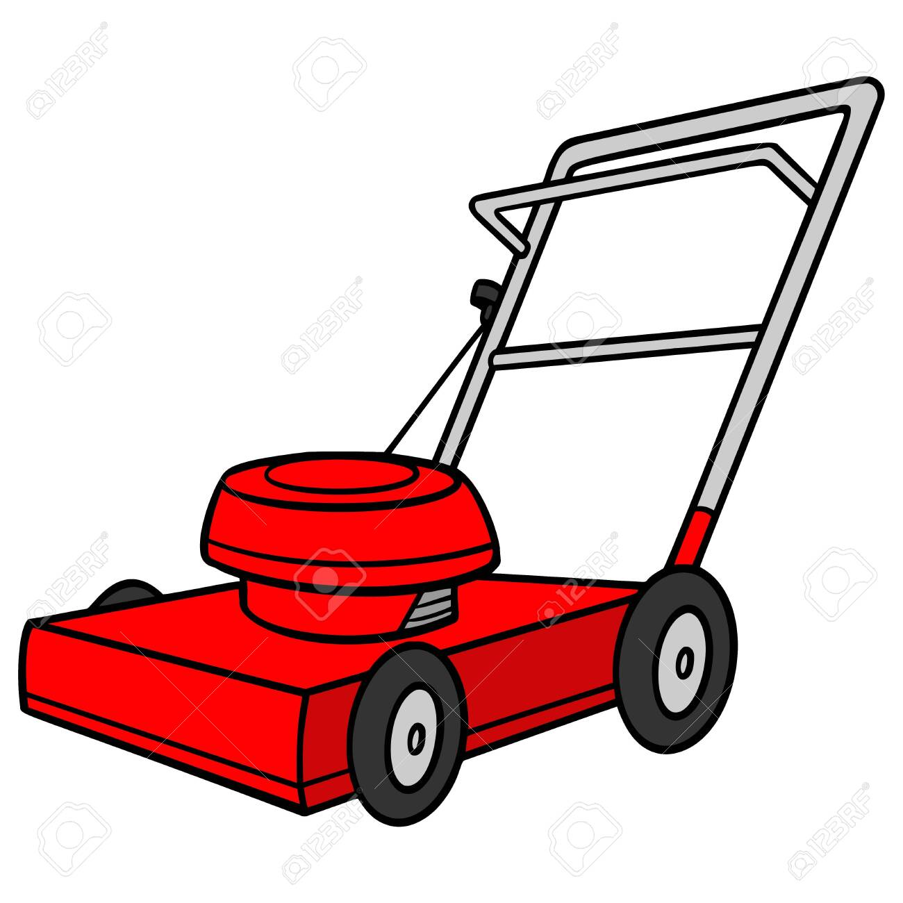 Lawn Mower A Cartoon Illustration Of A Backyard Lawn Mower Royalty Free Cliparts Vectors And Stock Illustration Image 137962997