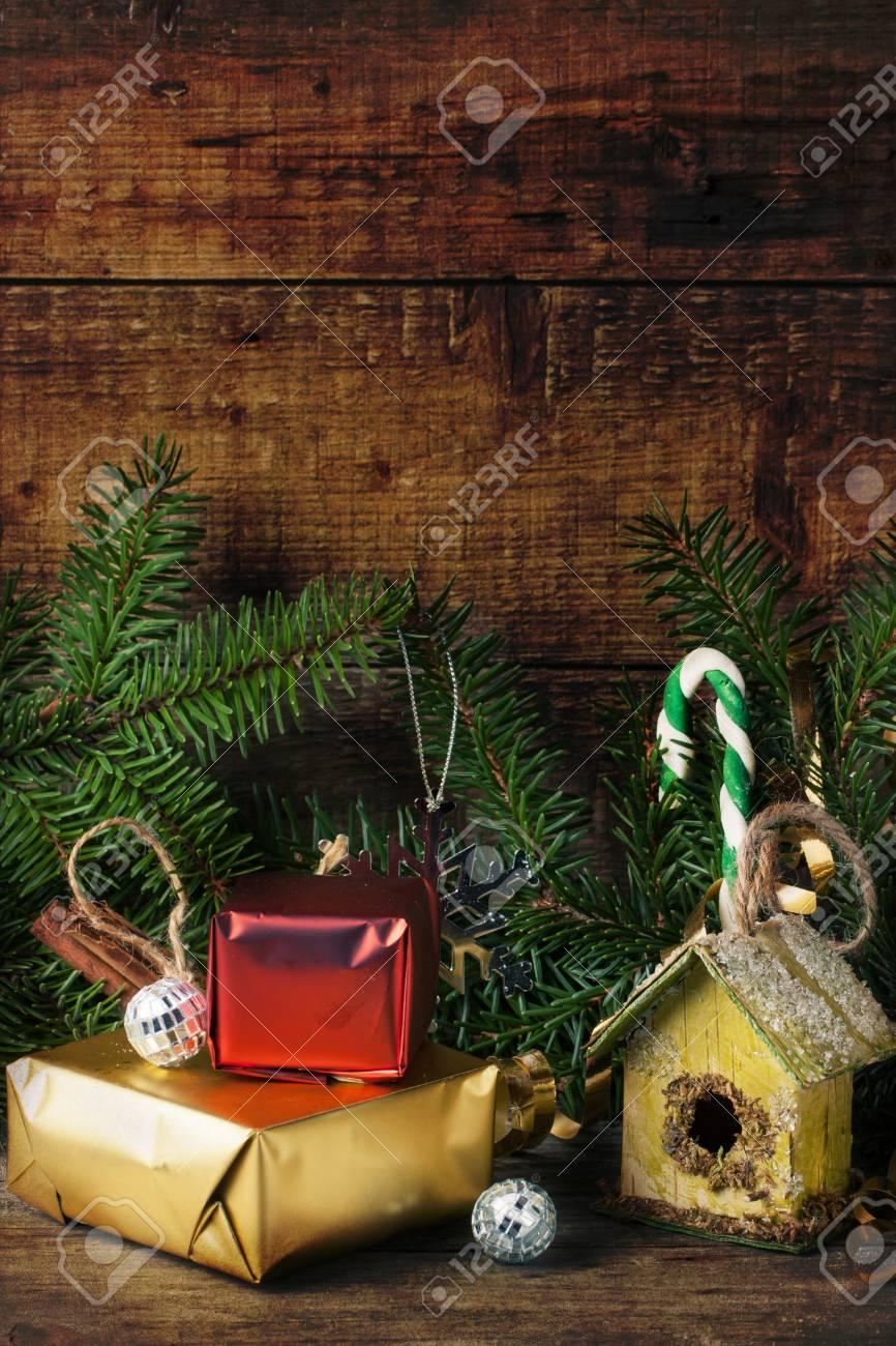 Vintage Textured Christmas Card With Nesting Box And Christmas ...