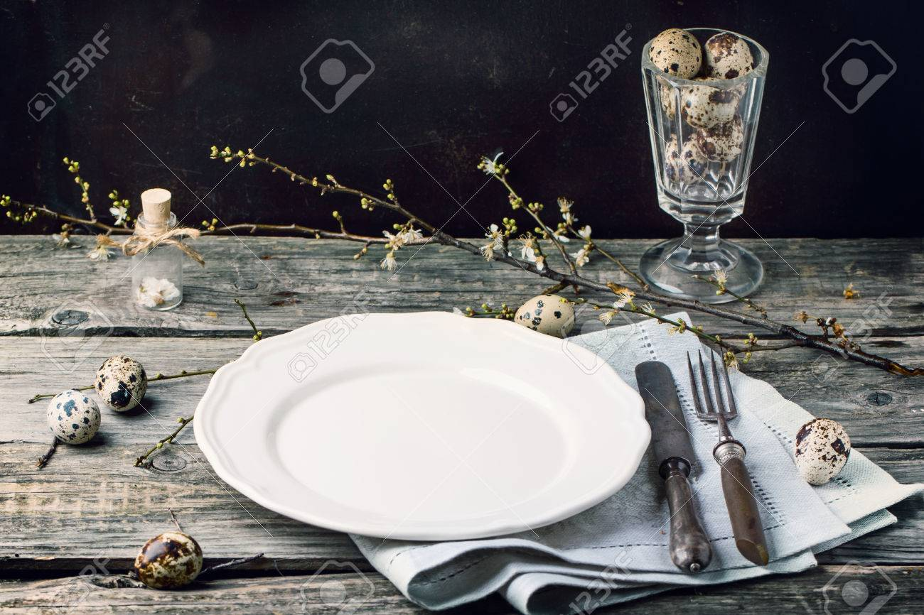 Easter Table Setting With Vintage Silverware, White Plate, Gray ...
