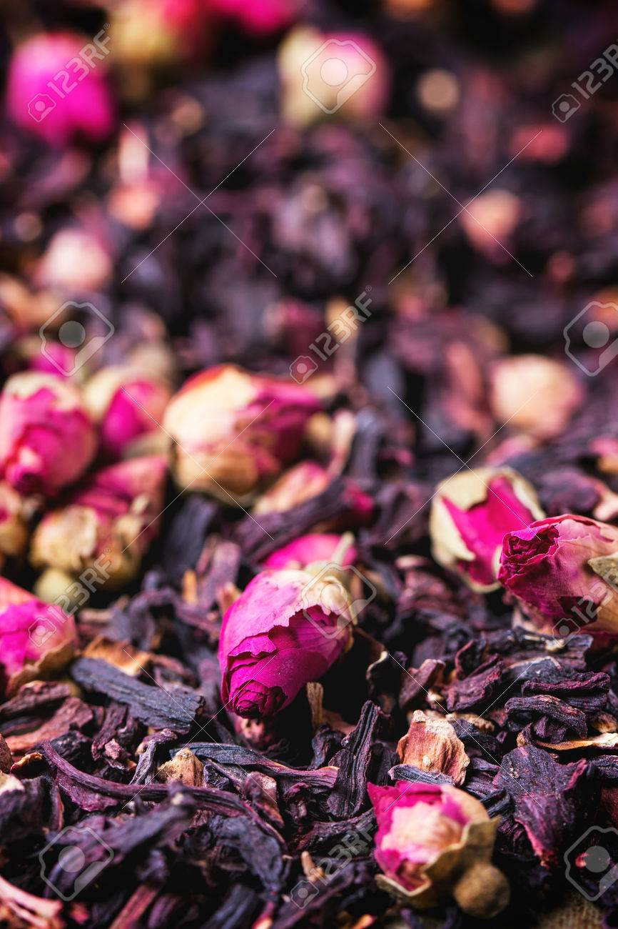 Heap Of Tea Roses And Dried Hibiscus Flower Stock Photo Picture And