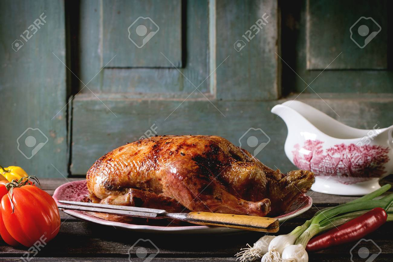 Whole Roast Honey Duck With Meat Fork In Vintage Plate, Served ...