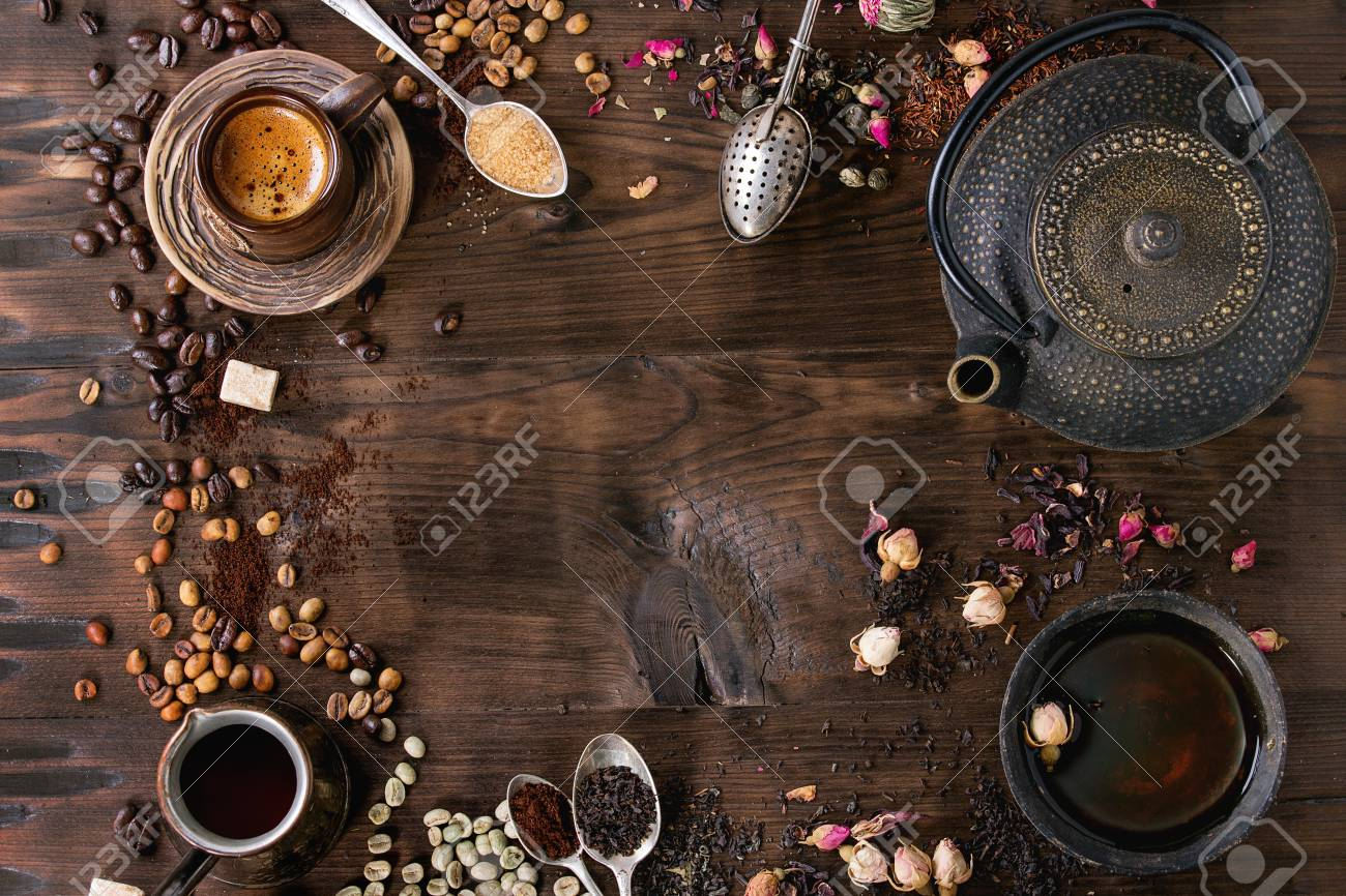 Food background tea and coffee theme. Different black and green dry tea, different coffee beans, cup of hot tea and coffee, teapot over dark wooden background. Top view. Space for text - 60227588