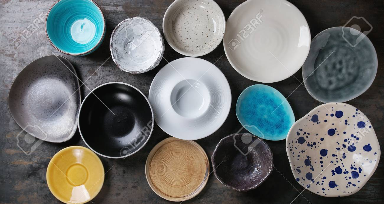 Empty Colorful Modern Ceramic Plates And Bowls Collection Various Stock Photo Picture And Royalty Free Image Image 75360845