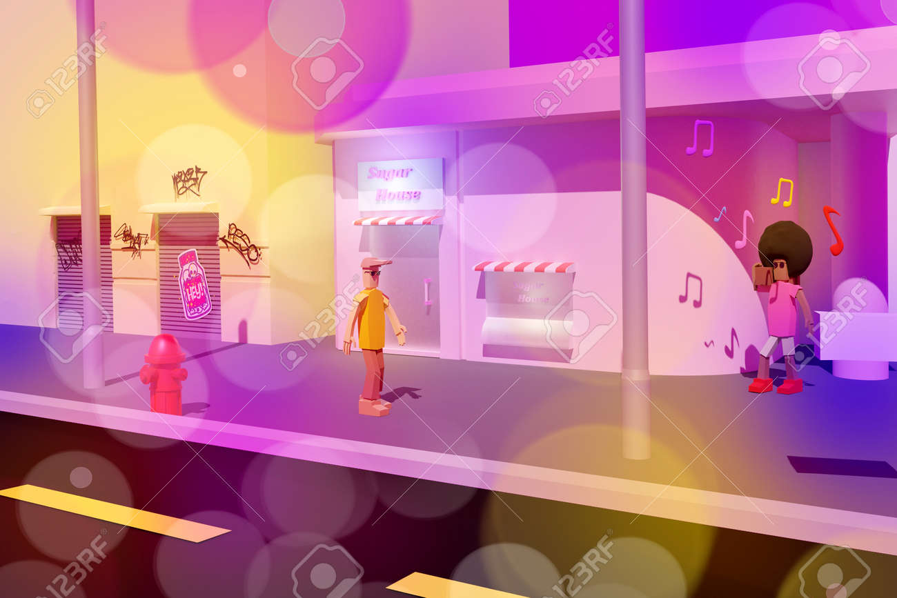 3D render of 90th disco style street with walls in graffiti and two walking people listening music wit nostalgic boom box near to sugar house. 80-90th Music mood concept - 171158828