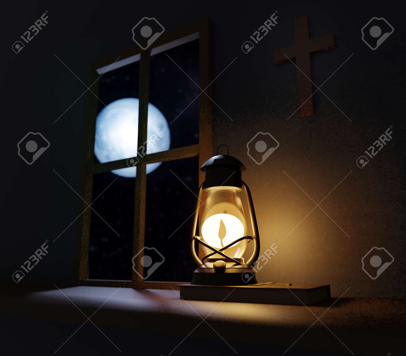 Old fashioned kerosene lantern style oil lamp burning in night with a soft glow in old church with cross on wall and full moon outside of the window - 171159626