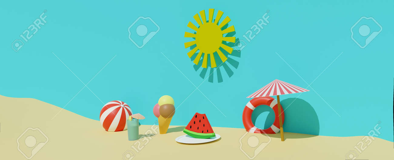 3D render of summertime sand beach with sun, lifebuoy, ball, ice cream, sun umbrella, cold drink and watermelon . Summer travel vacation, summer food and drink concept. Banner size - 171159003