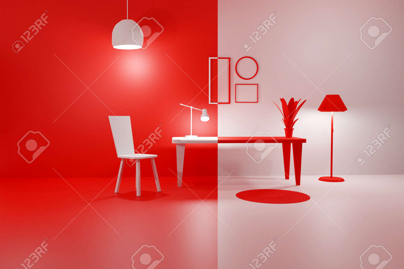 3D render of red and white modern interior living room with glowing floor lamp, table, chair and empty picture frames. Scene to show any pictures, poster or painting how it will look. Duality concept - 171903143