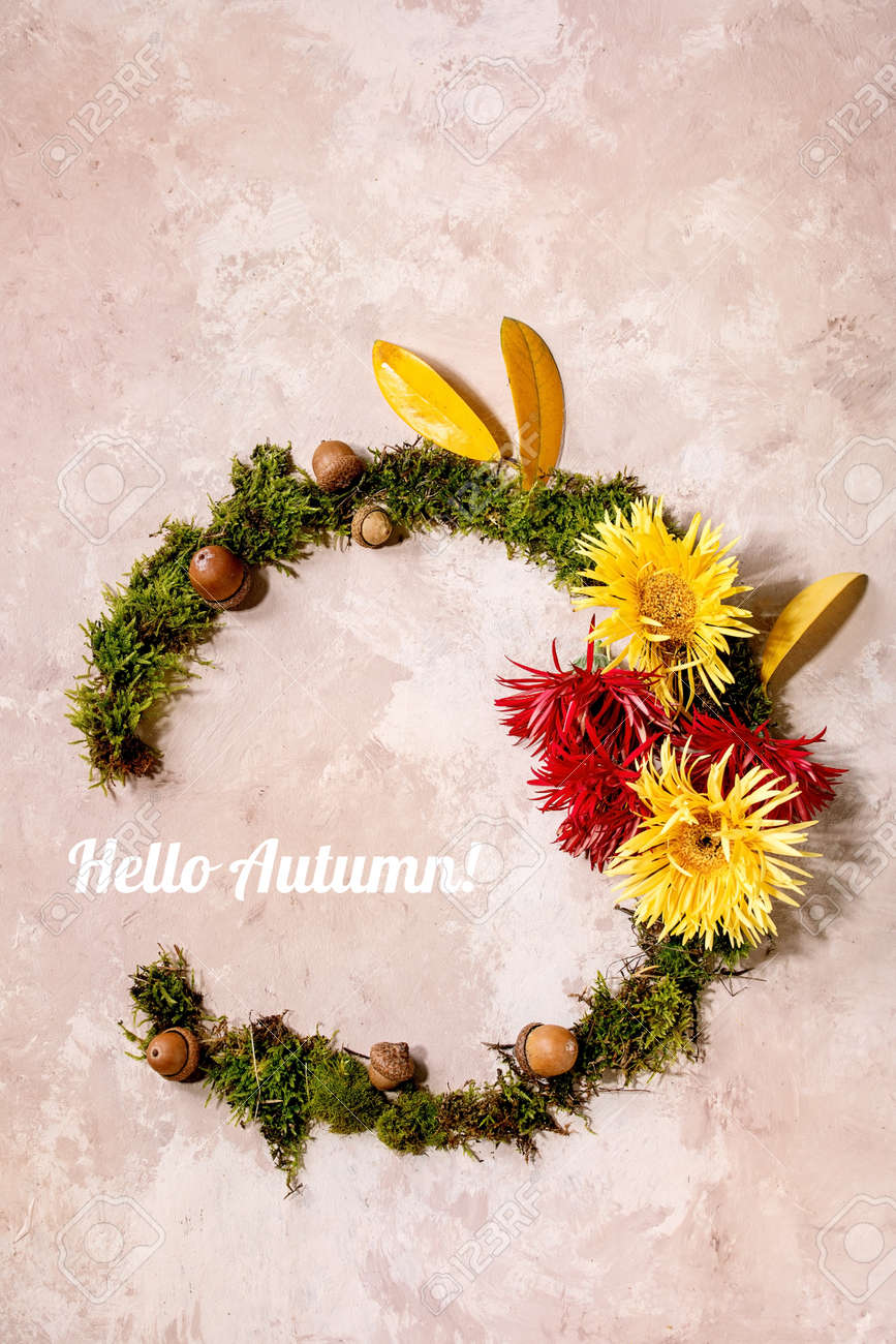 Beautiful Autumn botanical wreath composition creative layout with flowers, moss and yellow autumn leaves over beige concrete background. Flat lay, copy space. Hello Autumn inscription - 171903110