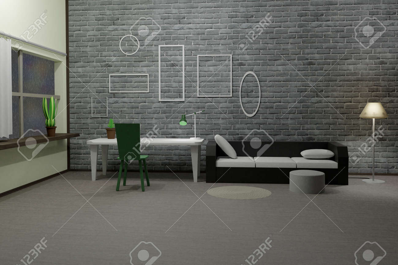 3D render of modern loft living room with glowing floor lamp, sofa, table, chair and empty picture frames on brick grey wall. Scene to show any pictures, poster or painting how it will look - 171903335
