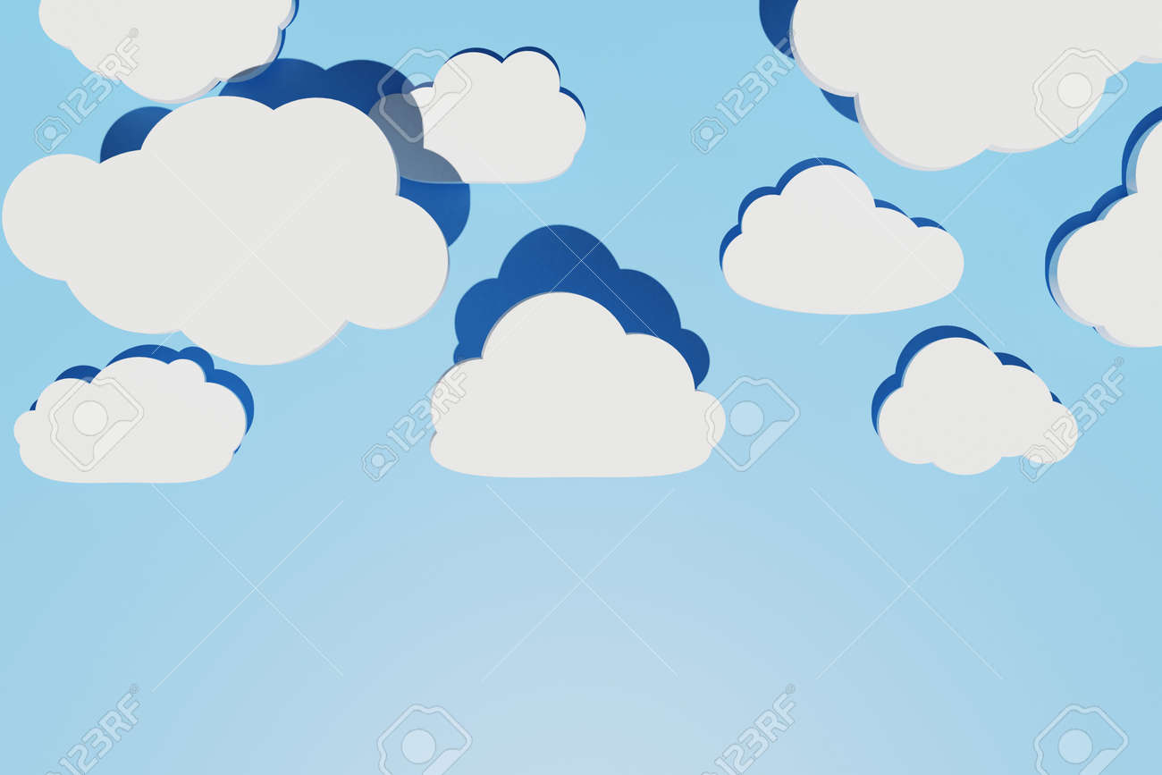 Abstract background with different flat clouds with shadows over blue sky. Creative layout. Copy space, 3d render - 173053161