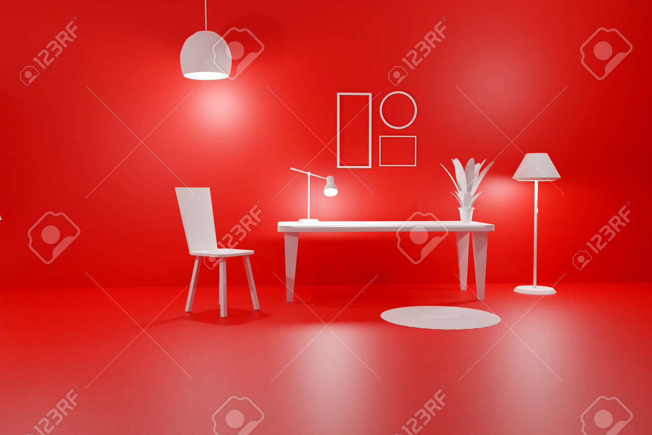 3D render of red living room with glowing floor lamp, table, chair and empty picture frames. Minimalist modern interior. Scene to show any pictures, poster or painting how it will look - 173052451