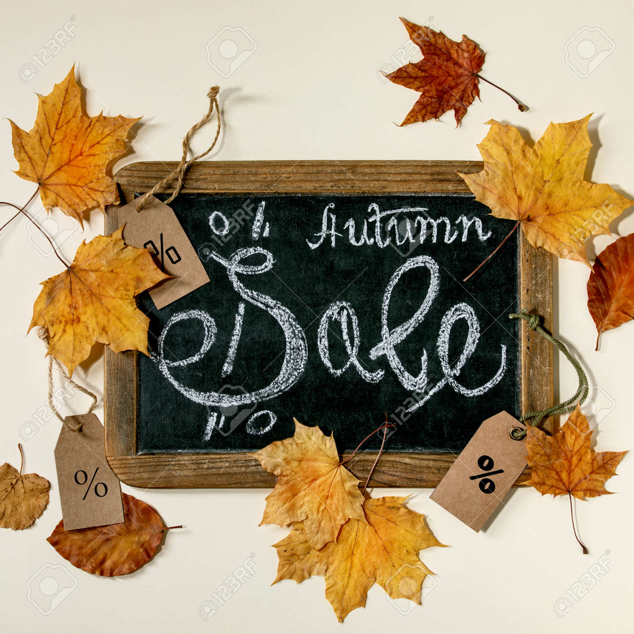 Autumn sale concept. Vintage chalkboard with hand written lettering Sale, labels with percents, yellow autumn leaves over beige background. Flat lay. Square - 173276707