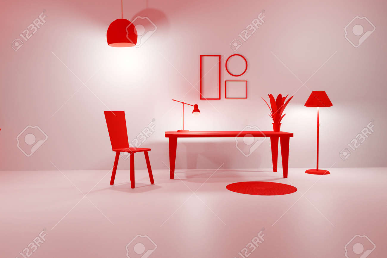 3D render of pink living room with glowing floor lamp, table, chair and empty picture frames. Minimalist modern interior. Scene to show any pictures, poster or painting how it will look - 173053153