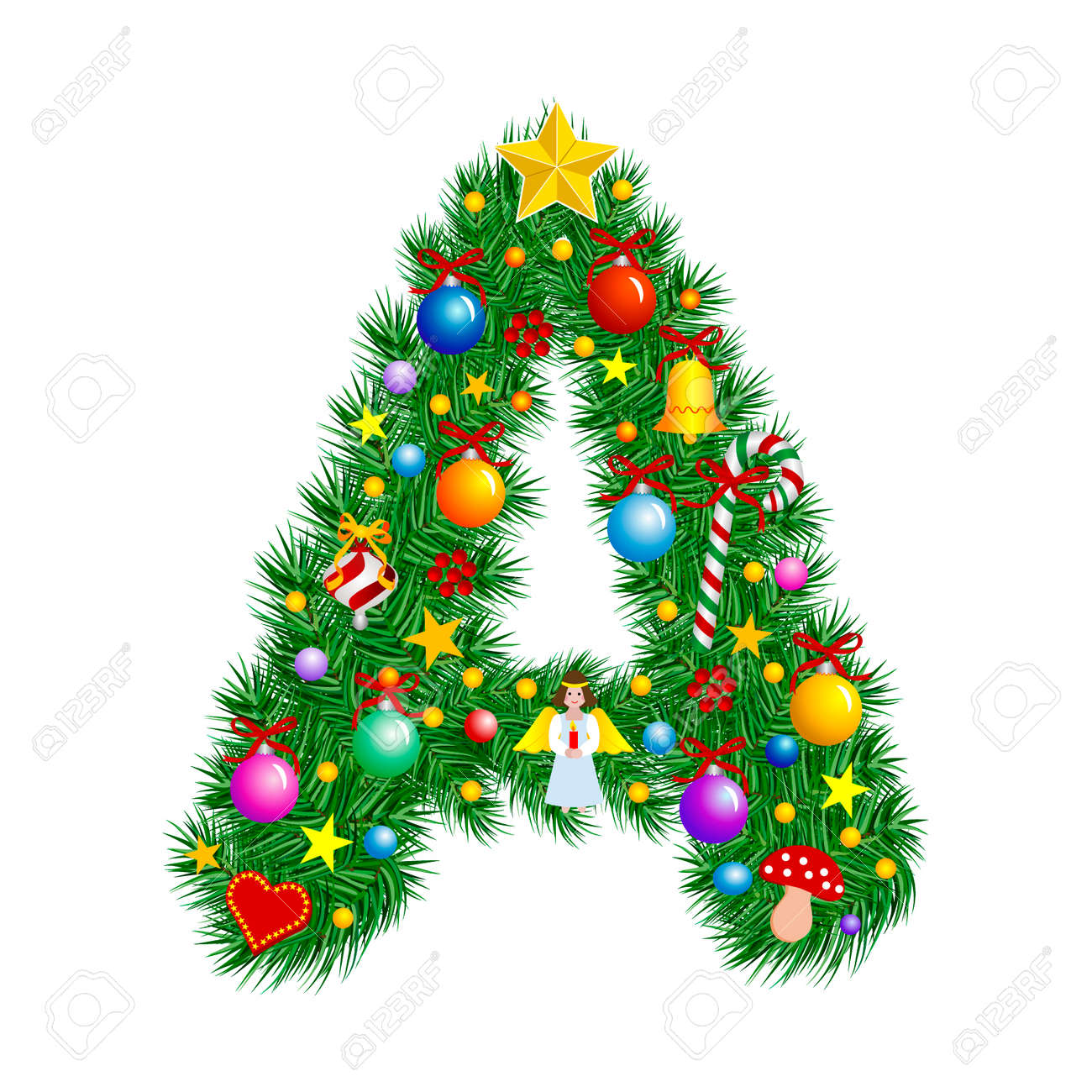 Letter A   Christmas Tree Decoration   Alphabet Royalty Free