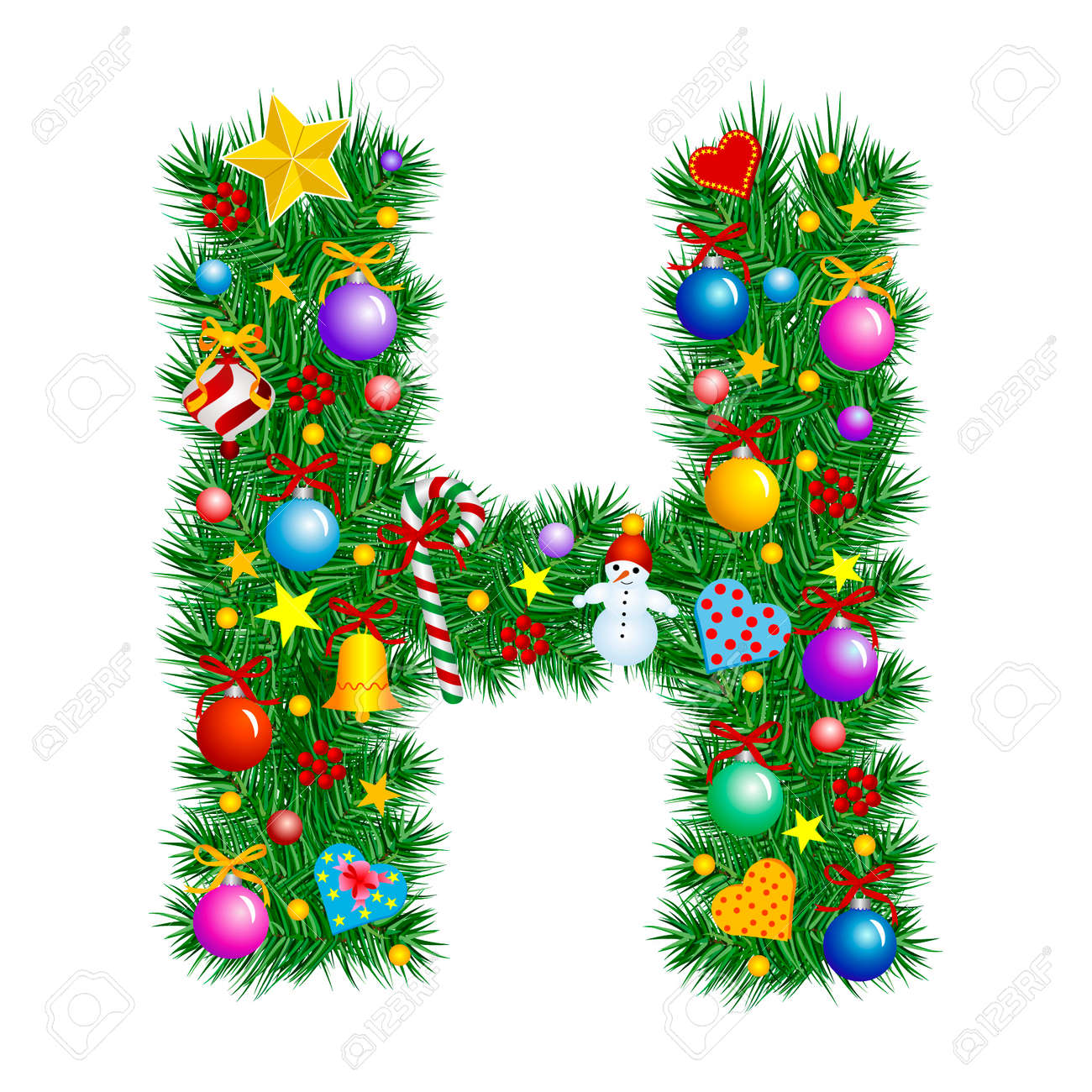 Letter H  Christmas Tree Decoration  Alphabet Stock Vector  2153664