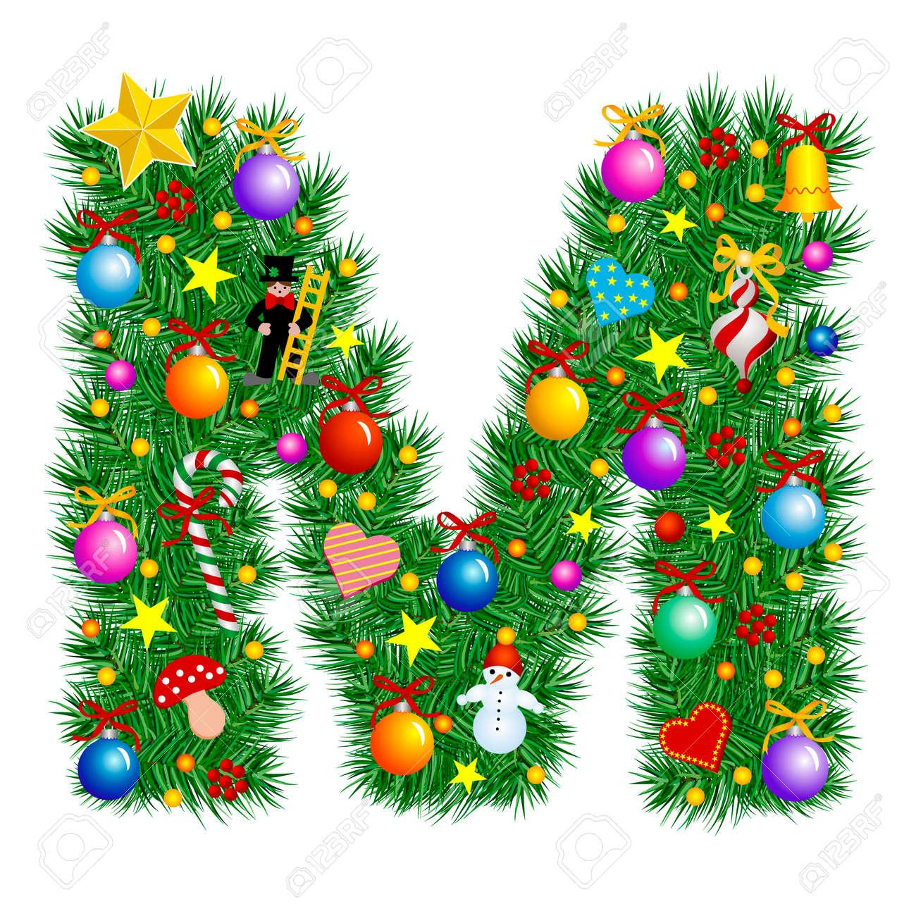 Letter M   Christmas Tree Decoration   Alphabet Royalty Free