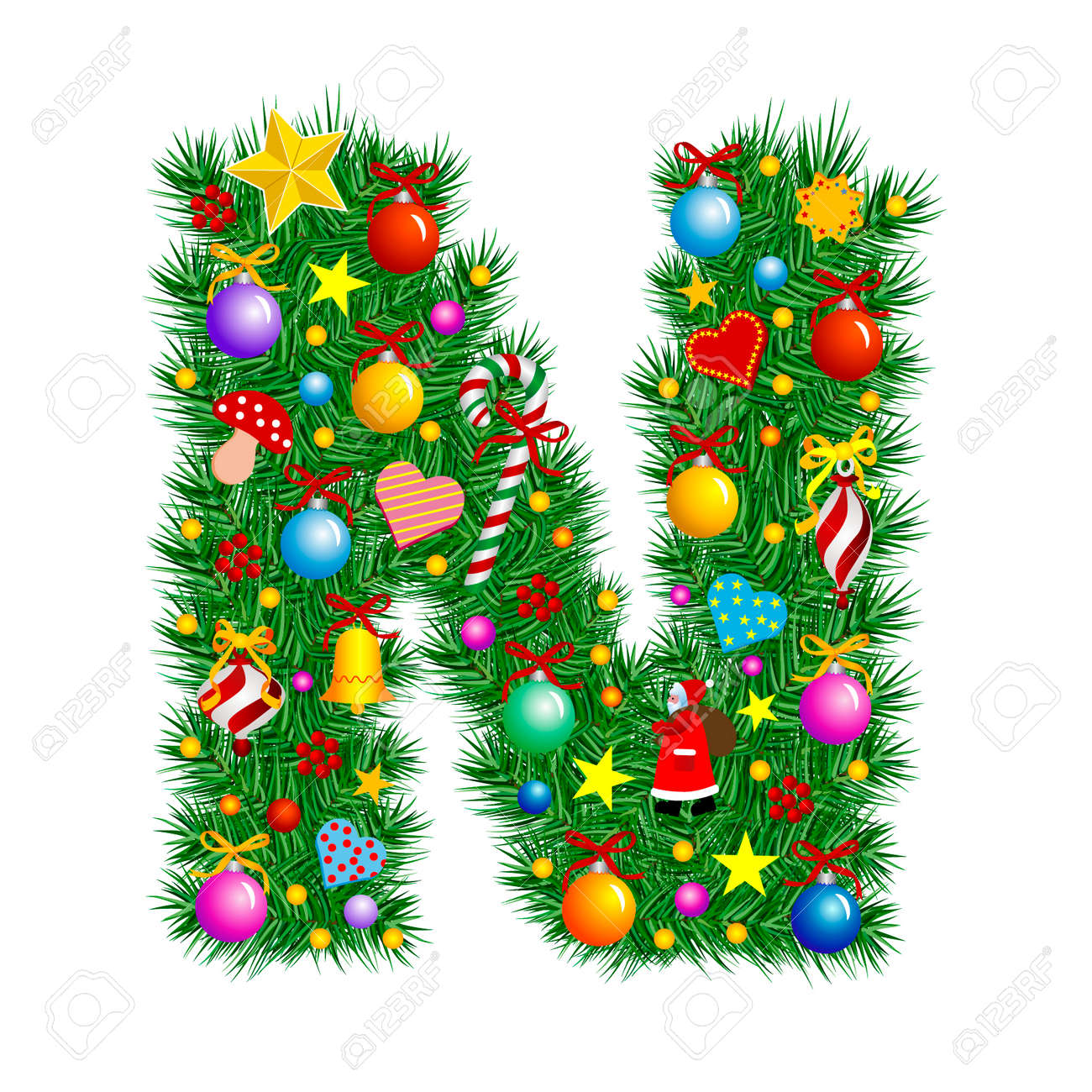 Letter N  Christmas Tree Decoration  Alphabet Stock Vector  2153685