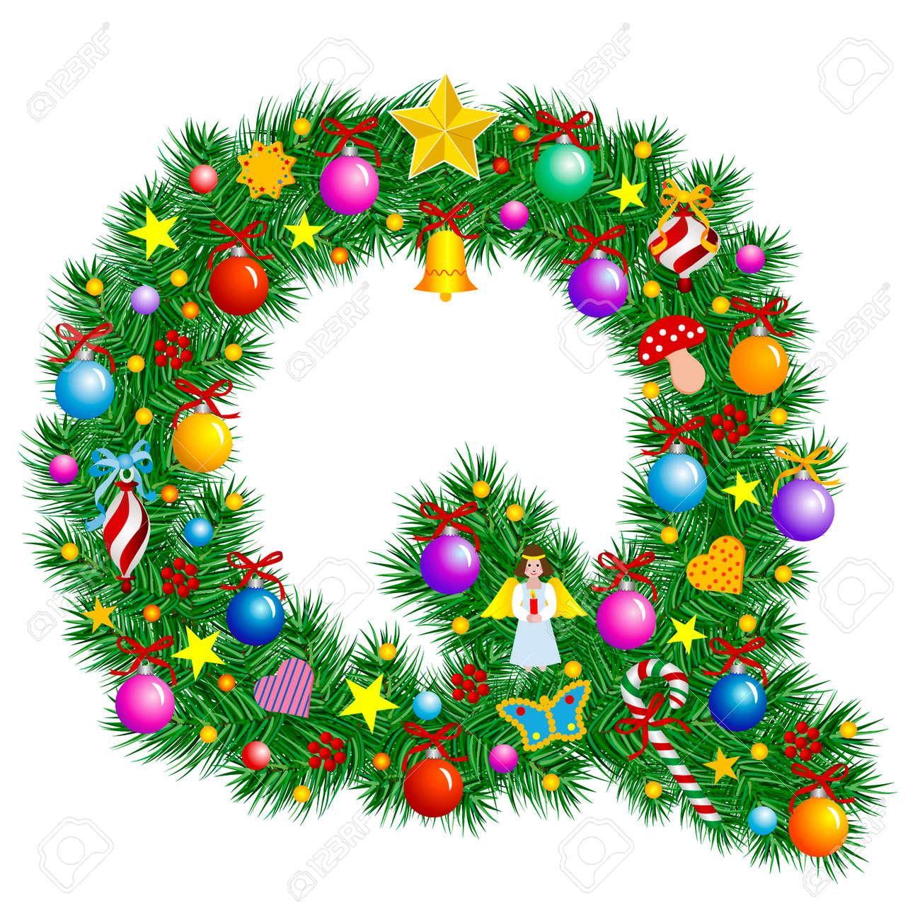 Letter Q - Christmas tree decoration - Alphabet Stock Vector - 2153680