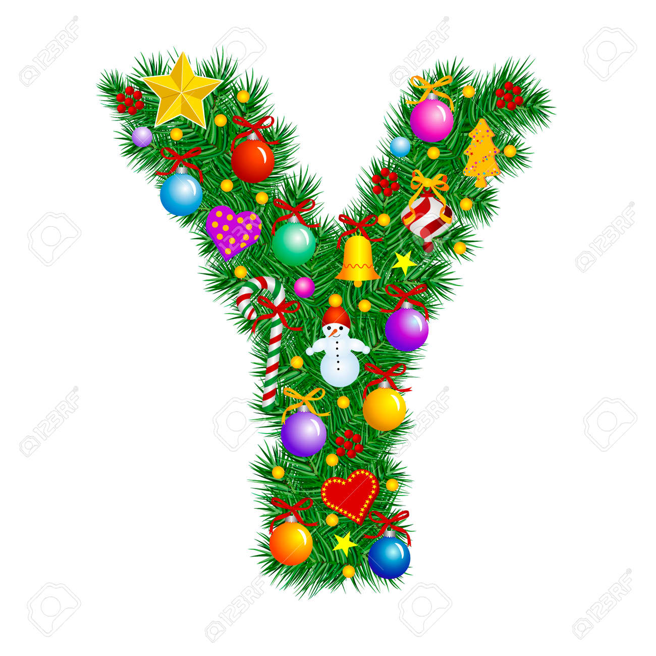 Merry Christmas Letter Y.Letter Y Christmas Tree Decoration Alphabet