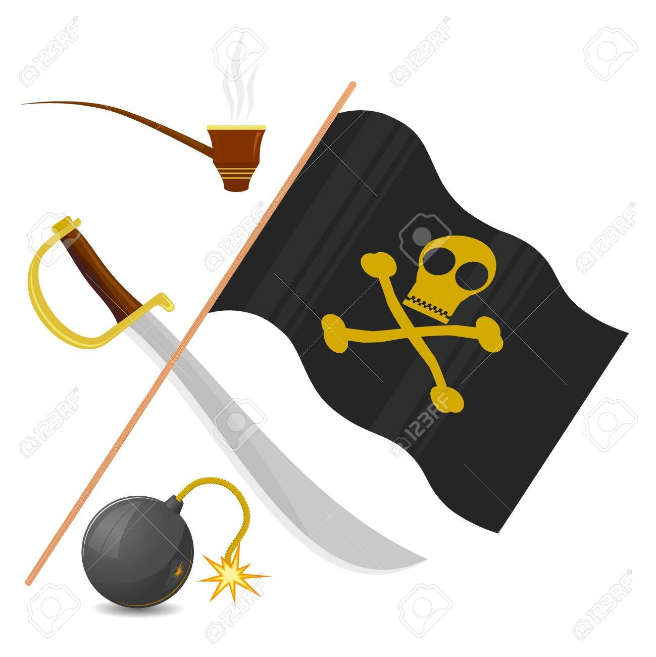 Collection of pirate attributes Stock Vector - 11661136