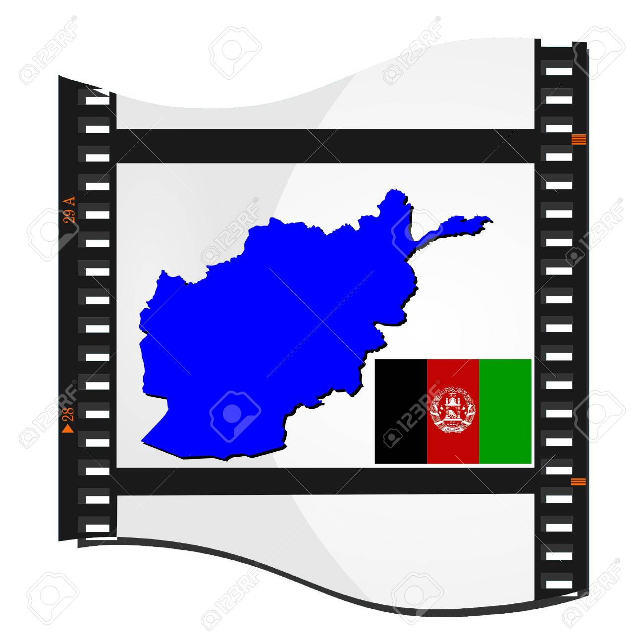 Film shots with a national map of  Afghanistan Stock Vector - 11942458