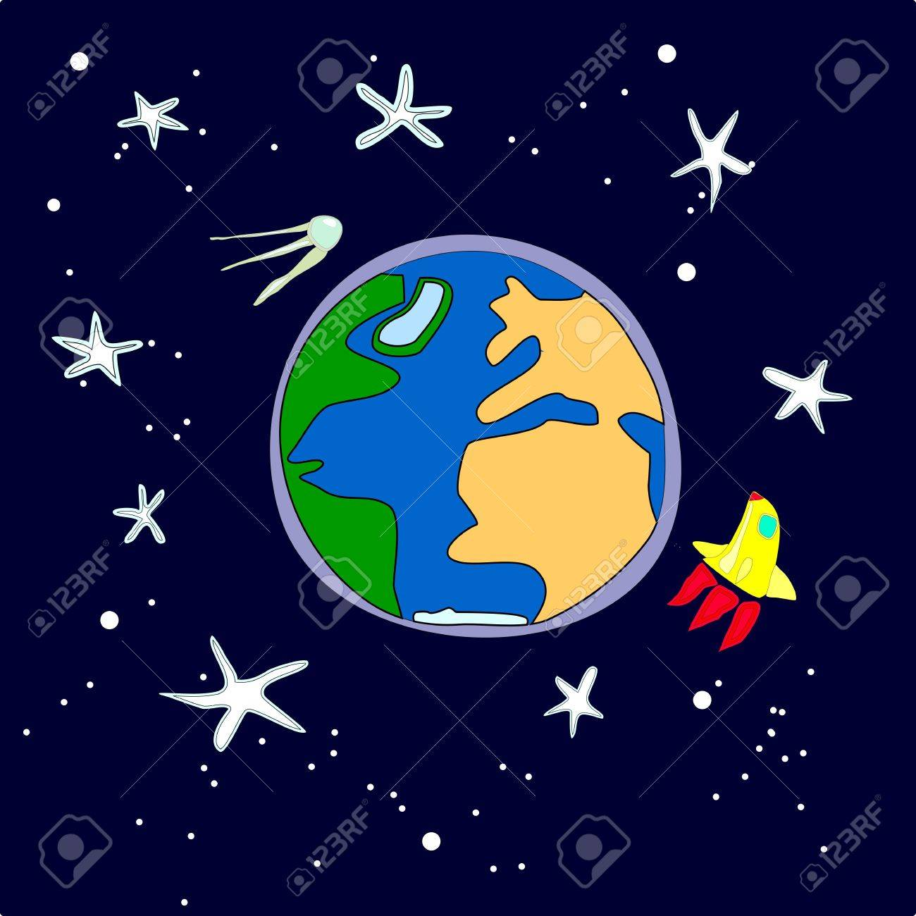 Vector illustration of the Earth with the rocket and the satellite. Stock Vector - 11942472