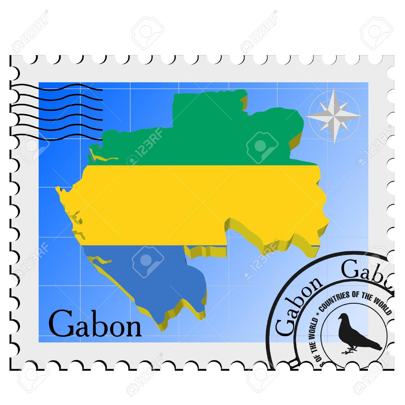 Vector stamp with the image maps of Gabon Stock Vector - 11942898