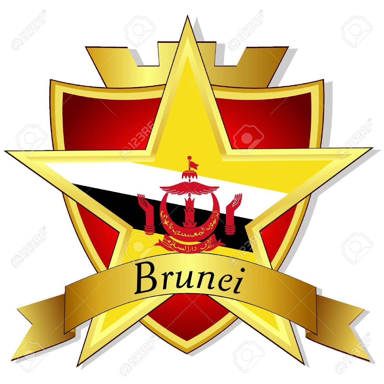 Vector Gold Star To The Flag Of Brunei On The Background Of