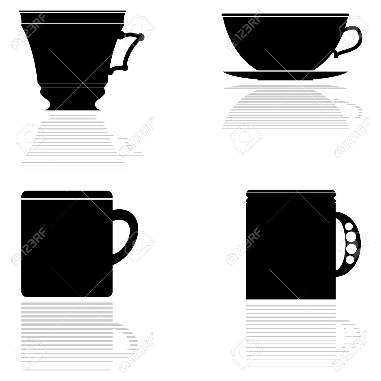 Set of vector silhouettes of tea cups Stock Vector - 11942749