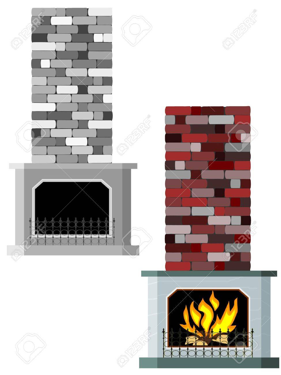 Vector illustration of fireplaces Stock Vector - 12021515