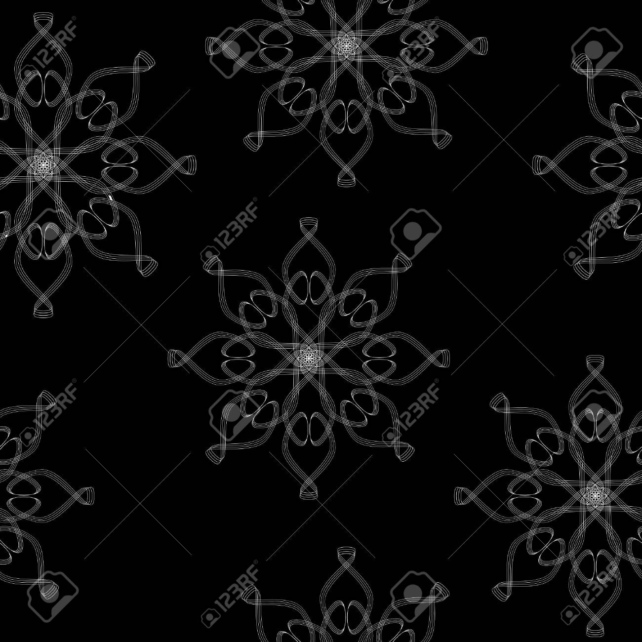 Seamless texture with ornament on  a black background Stock Vector - 12030192