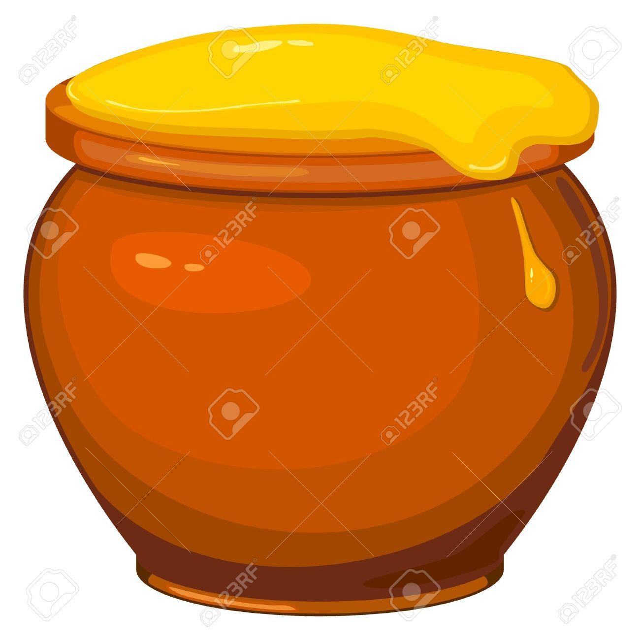 Vector illustration of cartoon pot of honey Stock Vector - 12030084