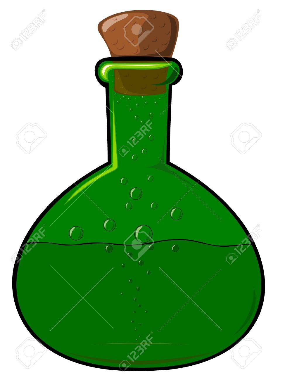 The green bottle with a cork Stock Vector - 12494262