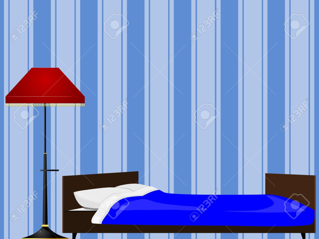 Bed and floor lamp Stock Vector   12870205