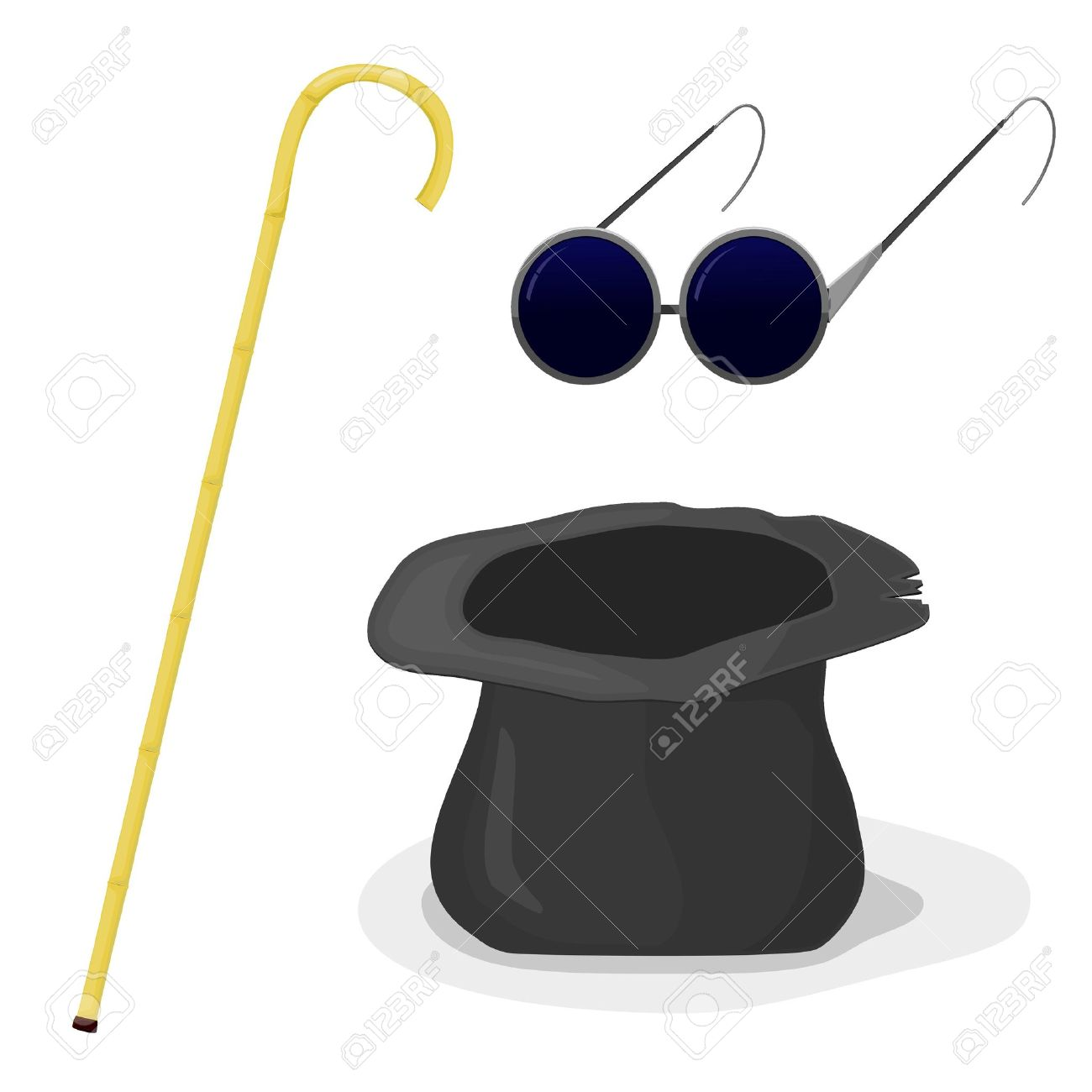 Hat, cane and glasses blind Stock Vector - 12870219