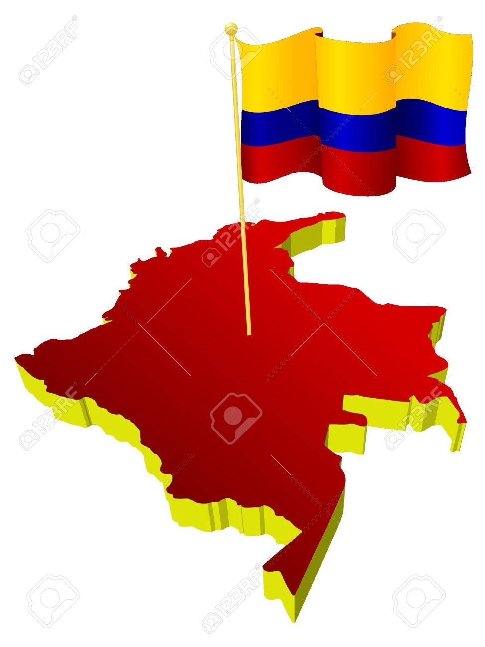 three-dimensional image map of Colombia with the national flag Stock Vector - 13278206