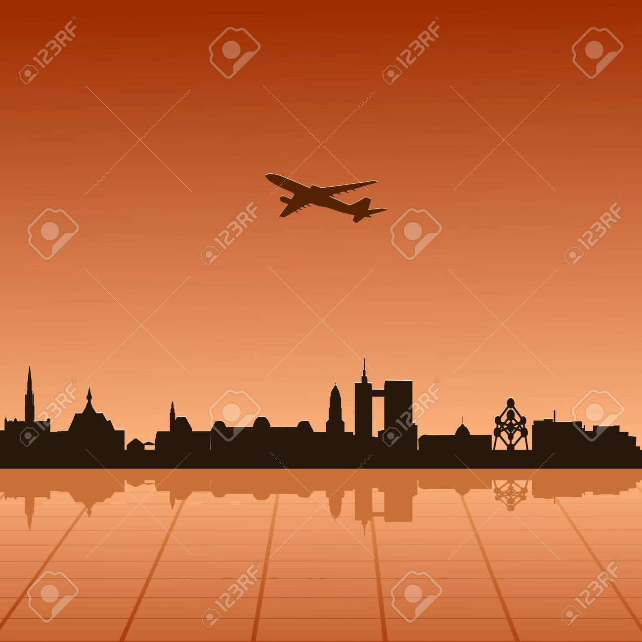 Vector illustration of urban landscape of Brussel Stock Vector - 13278599