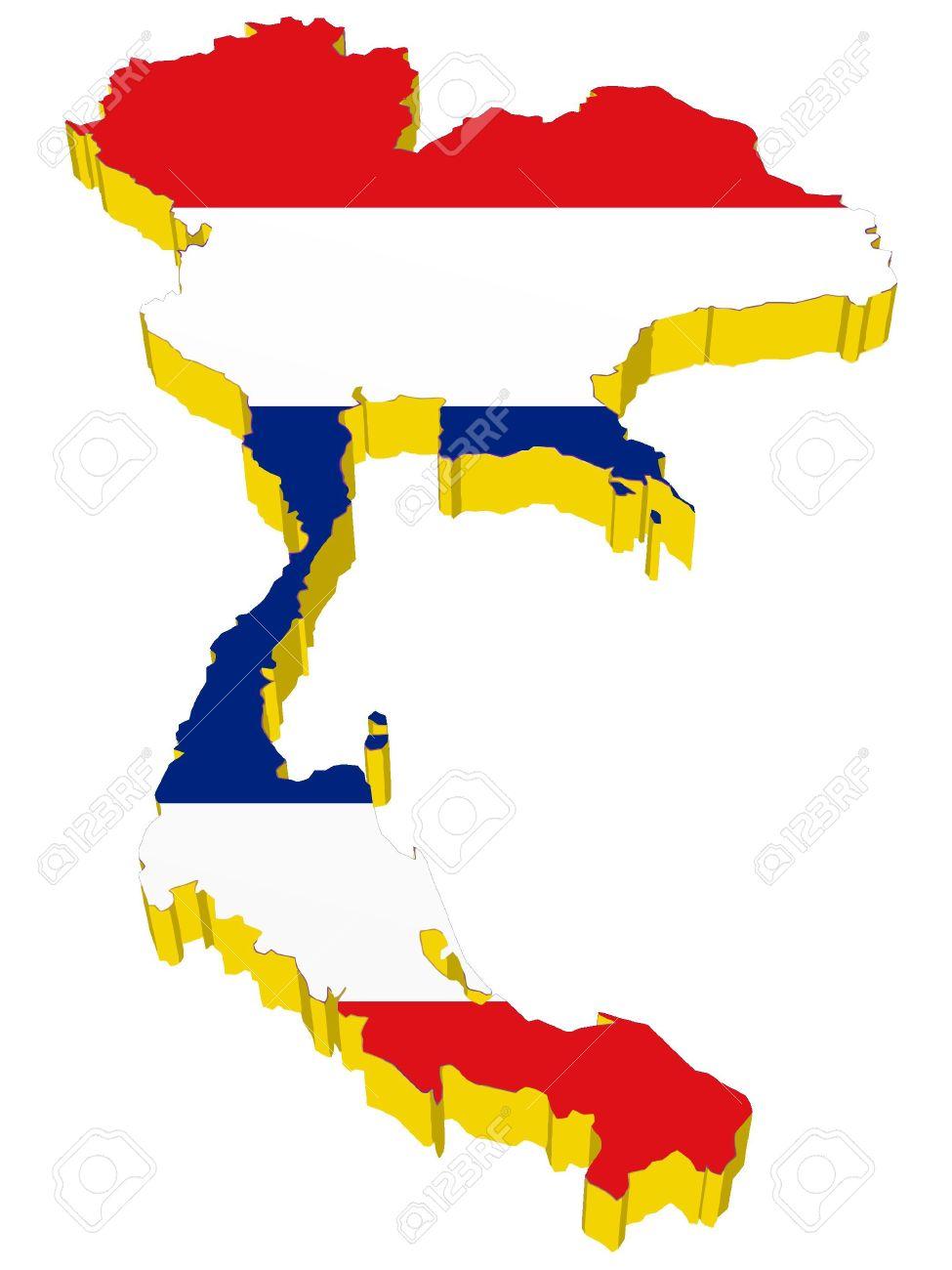 vectors 3D map of Thailand