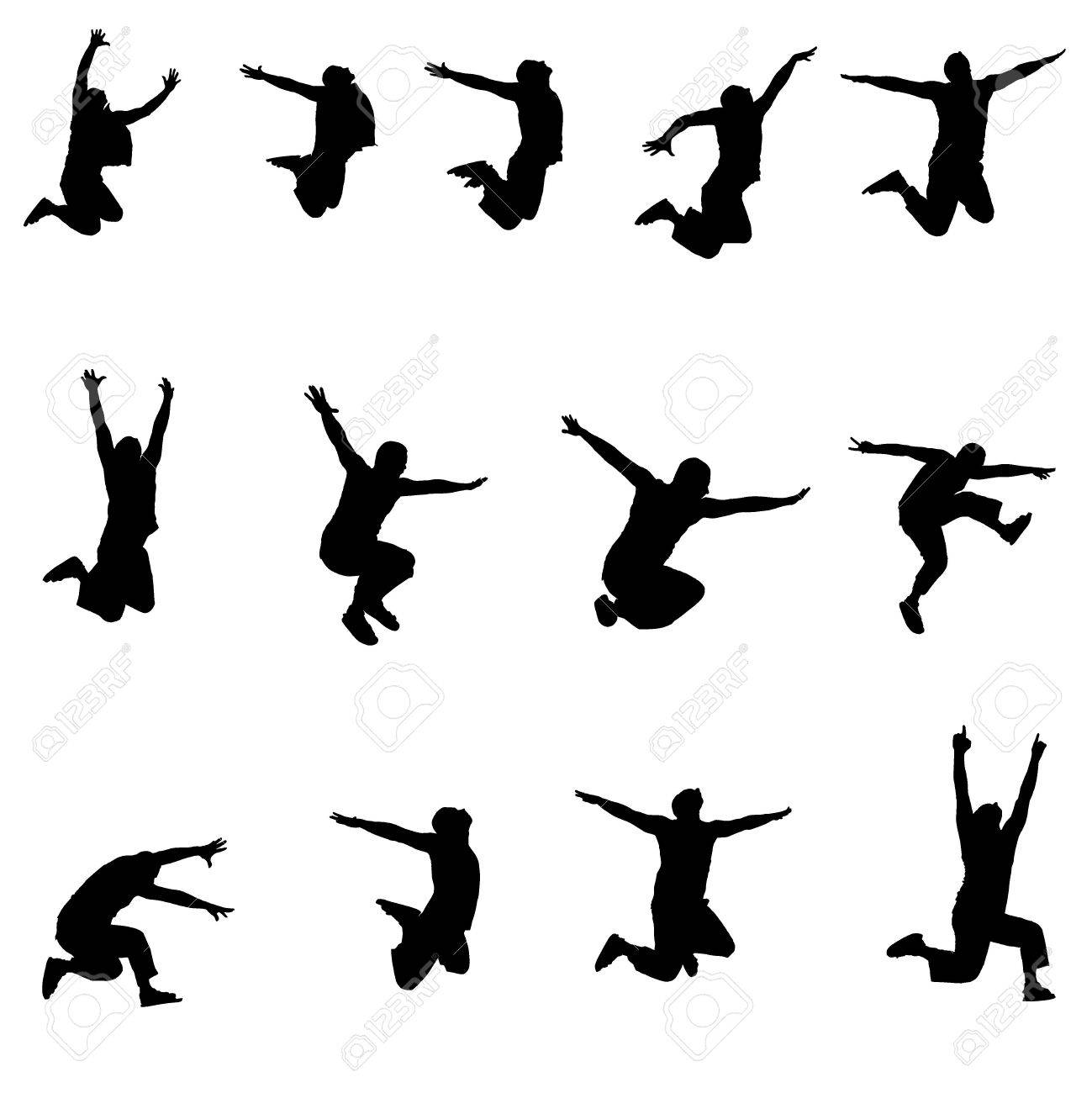 Set of images jumping athlete Stock Vector - 15522656