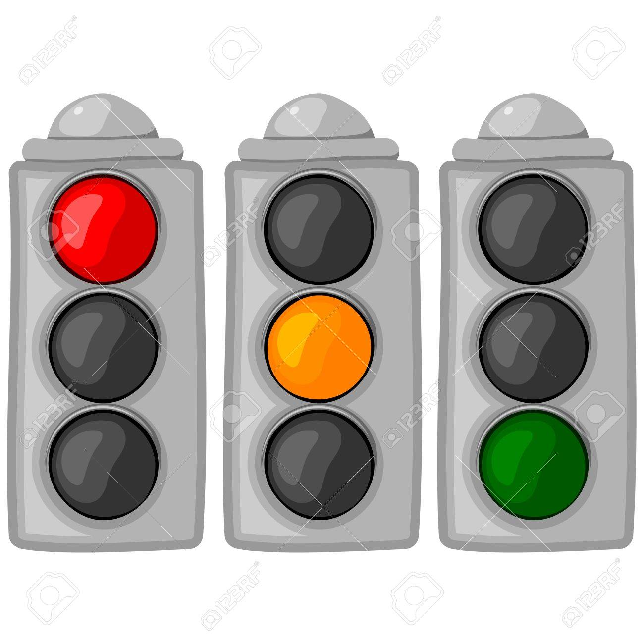 The set  of cartoon traffic lights. eps10 Stock Vector - 15787657